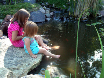 Kids at a pond
